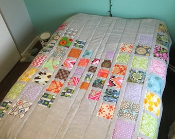 READY TO SHIP Quilt, hand made, full size.Modern quilt, handmade quilt ,set ,blanket.80 x 62 inch