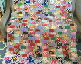 READY TO SHIP Patchwork quilt, hand made, Classic quilt , full size ,cotton blanket, 85 x 62 inch