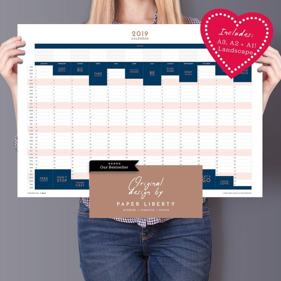2019 large wall planner pack a3 a2 a1 powerful two word etsy. Black Bedroom Furniture Sets. Home Design Ideas