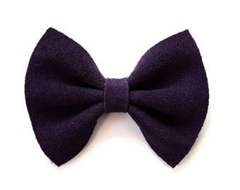 Dark Purple Suede Bow Beautiful Adorable Clip for Newborn Baby Little Girl Child Adult Photo Prop Thanksgiving Fall Holiday Clip