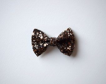 Mocha Brown Glitter TINY Bow Clip Photo Prop for Girls Adorable Holiday Fall Thanksgiving Clip for Little Girls Babies Toddlers Adults