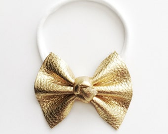 GOLD Metallic Knot Center Leather OSFA White Headband for Newborn Baby Child Little Girl Adult Adorable Photo Prop Headband Gold White Bow