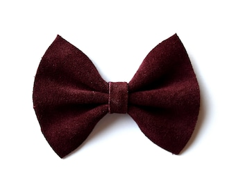 Deep Burgundy Suede Bow Beautiful Adorable Clip for Newborn Baby Little Girl Child Adult Photo Prop Thanksgiving Fall Clip