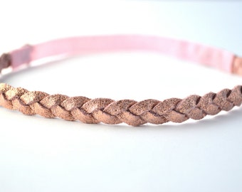 Rose Gold Metallic Leather Braided Vintage Heaband Newborn Baby Child Adult Photo Prop Headwrap Beautiful for Little Girl Child Bow