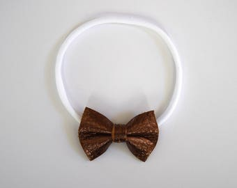 Bronze Metallic TINY Leather Bow Headband Photo Prop for Girls Adorable Holiday Bow for Little Girls Babies Toddlers Adults Fall Holiday Bow