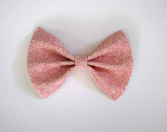 PINK MATTE Glitter Bow Photo Prop Pictures Headband for Newborn Baby Little Girl Child Adult Spring Summer Valentines Easter Love Clip