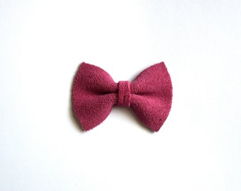 Cerise Suede Pink TINY Alligator Clip Bow for Newborn Baby Child Little Girl Adult Photo Prop Adorable Photo Summer Clip
