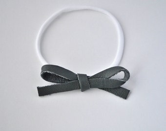 True Grey LARGE Leather Bow OSFA nylon elastic Adorable Photo Prop for Newborn Baby Little Girl Child Adult Headwrap Pretty Bow