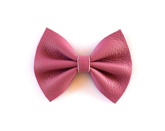 MAUVE Leather Bow Beautiful Adorable Clip for Newborn Baby Little Girl Child Adult Photo Prop Pictures Holiday Fall Pink Bow