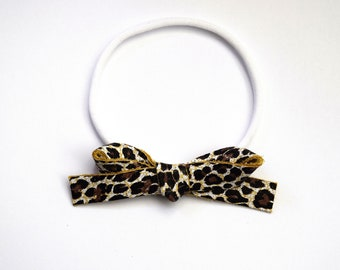 White Leopard LARGE Leather Bow OSFA elastic Adorable Photo Prop for Newborn Baby Little Girl Child Adult Summer Brown Neutral Headwrap