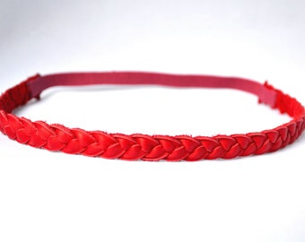 Red Leather Braided Headband Newborn Baby Child Adult Photo Prop Headwrap Spring Summer Beautiful for Little Girl Child Bow