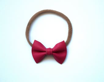 Rose Leather TINY Bow Headband OSFA Adorable Photo Prop for Newborn Baby Little Girl Child Adult Spring Easter Pink Red Beautiful Headwrap