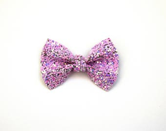 Lilac DUST Sparkly Glitter TINY Alligator Clip Bow for Newborn Baby Child Little Girl Adult Photo Prop Adorable Photo Easter Summer Clip