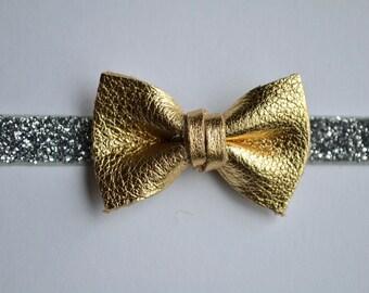 Gold Metallic Bow Leather Headband Gold Bow Silver Glitter Bow Photo Prop Headband for Newborn Baby Little Girl Child