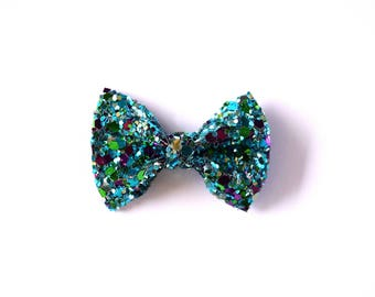 Under The Sea TINY Glitter Bow Clip Photo Prop for Girls Adorable Summer Blue Green Spring Clip for Little Girls Babies Toddlers Adults Bow