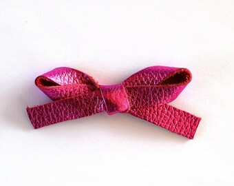 Hot Pink Metallic LARGE Leather Bow Clip Adorable Photo Prop for Newborn Baby Little Girl Child Adult Summer Headwrap Pretty Holiday Bow