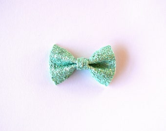 Matte Mint TINY Glitter Bow Clip Photo Prop for Girls Adorable Christmas Holiday Fall Clip for Little Girls Babies Toddlers Adults Mint Bow