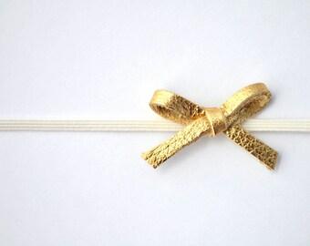 Tiny Dainty Gold Metallic Leather Bow Headband Glitter Bow Photo Prop Headband for Newborn Baby Little Girl Child Spring Summer little bow