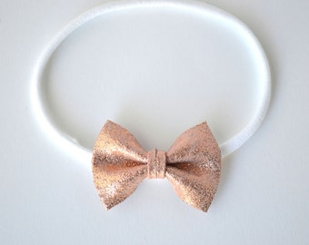 Rose Gold Metallic TINY Leather Bow Headband ONE SIZE fits All for Newborn Baby Little Girl Child Adult Headwrap Pretty Bow
