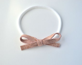 Rose Gold Metallic LARGE Leather Bow One Size Fits All Elastic Photo Prop for Newborn Baby Little Girl Child Adult Headwrap Pretty Bow