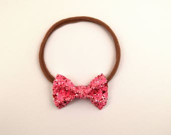 Strawberry Glitter TINY Bow Headband ONE SIZE fits All Adorable Photo Prop for Newborn Baby Little Girl Child Adult Pink Red Headwrap