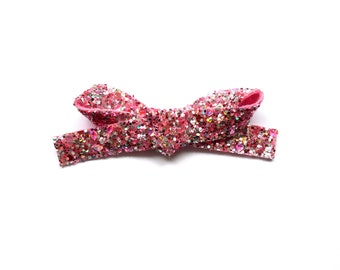 Candy Pink Glitter LARGE Bow Clip Adorable Photo Prop for Newborn Baby Little Girl Child Adult Pretty Pink Easter Summer Pretty Girl Clip