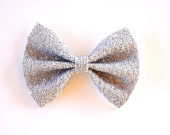 Grey Glitter Sparkle Bow Spring Summer Clip for Newborn Baby Child Little Girl Photo Prop Adorable Beautiful Headband
