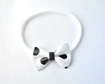 White Bow with Black Polka Dots TINY Leather Bow Headband ONE SIZE fits All for Newborn Baby Little Girl Child Adult Headwrap Pretty Bow