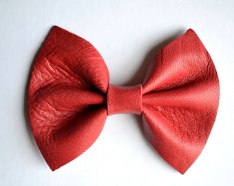 Leather Baby Headband Bow for Newborn Baby Child Little Girl Adult Red Fall Adorable Photo Prop Holiday Christmas Clip