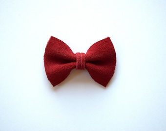 Red Suede TINY Alligator Clip Bow for Newborn Baby Child Little Girl Adult Photo Prop Adorable Photo Holiday Christmas Valentines Day Clip