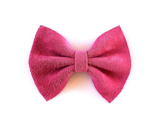Peony Pink Suede Bow Beautiful Adorable Clip for Newborn Baby Little Girl Child Adult Photo Prop Fall Holiday Pictures Clip