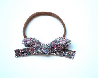 Silver MULTI Glitter LARGE OSFA nylon elastic headband Adorable Photo Prop for Newborn Baby Little Girl Child Adult Headwrap Pretty Bow