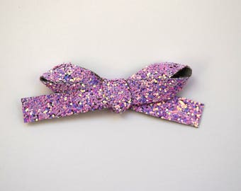 Lilac Dust Glitter LARGE Bow Clip Adorable Photo Prop for Newborn Baby Little Girl Child Adult Summer Purple Violet Headwrap Pretty Bow