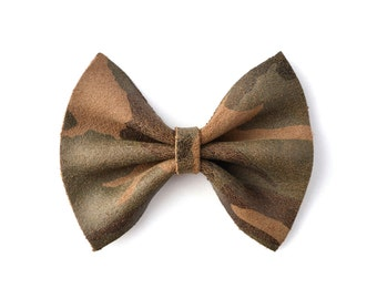 CAMO Leather Bow for Newborn Baby Little Girl Child Adult Beautiful Adorable Spring Baby Green Brown Hunting Bow Photo Prop Pictures