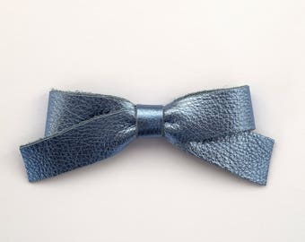 School Girl Sky Blue Metallic Leather Bow Clip Adorable Photo Prop for Newborn Baby Little Girl Child Adult Spring Summer Pretty Bow