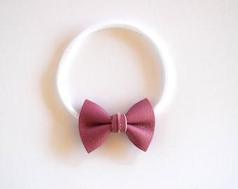 MAUVE Leather Bow Headband ONE SIZE fits All Adorable Photo Prop for Newborn Baby Little Girl Child Summer Headwrap Pretty Fall Holiday Bow