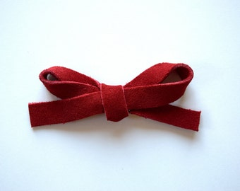 Red Suede LARGE Leather Bow Clip Photo Prop for Newborn Baby Little Girl Child Adult Christmas Holiday Headwrap Pretty Bow