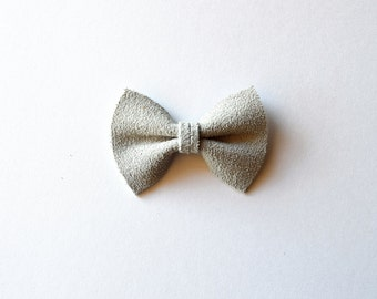 TINY Light Grey SUEDE Leather Bow Clip Adorable Photo Prop for Newborn Baby Little Girl Child Adult Fall Winter Headwrap Pretty Bow