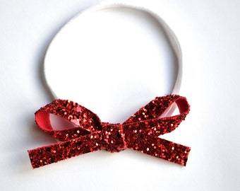 RED Glitter LARGE Leather OSFA nylon elastic headband Adorable Photo Prop for Newborn Baby Little Girl Child Adult Headwrap Valentines Bow