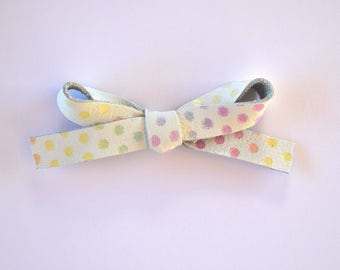 Pastel Polka Dot LARGE Leather Bow Clip Adorable Photo Prop for Newborn Baby Little Girl Child Adult Holiday Easter Clip Headwrap Bow