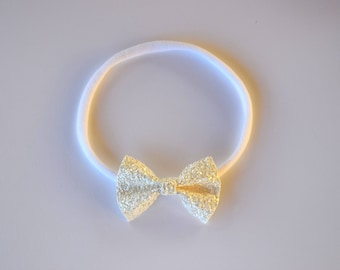 White Matte Glitter TINY Bow Headband ONE SIZE fits All Adorable Photo Prop for Newborn Baby Little Girl Child Adult Headwrap Pretty Bow