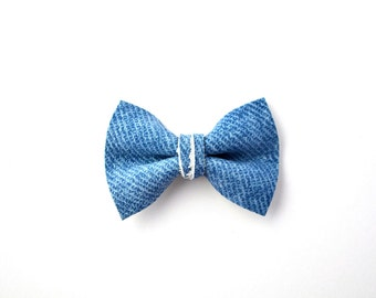 DENIM Blue Leather Soft Clip Beautiful Little Bow for Newborn Baby Child Little Girl Adult Photo Prop Adorable Spring Pictures