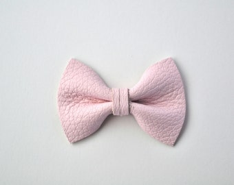 Blush Pink TINY Leather Soft Clip Beautiful Little Bow for Newborn Baby Child Little Girl Adult Photo Prop Adorable Spring Pictures