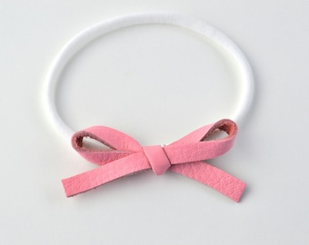 Bubblegum Pink LARGE Leather Bow One Size Fits All Elastic Adorable Photo Prop for Newborn Baby Little Girl Child Adult Headwrap Pretty Bow