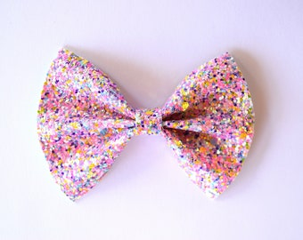 Sherbet Glitter Bow Photo Prop Pictures Headband for Newborn Baby Little Girl Child Adult Spring Summer Pink Blessing Bow Ballet Clip