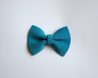 Turquoise Suede Blue TINY Leather Bow Clip Photo Prop for Girls Adorable Summer Easter Spring Clip for Little Girls Babies Toddlers Adults