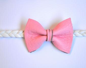 Bubblegum Pink Bow Leather Braided Headband Photo Prop Headwrap for Newborn Baby Spring Summer Adorable Headwrap