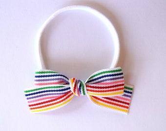 Rainbow Stripe Ribbon LARGE Bow OSFA Nylon Elastic Adorable Photo Prop for Newborn Baby Little Girl Child Adult Unicorn Multistripe Bow
