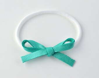 Aqua Mint LARGE Leather Bow One Size Fits All Elastic Adorable Photo Prop for Newborn Baby Little Girl Child Adult Headwrap Pretty Bow