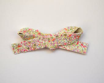 EXCLUSIVE EASTER Glitter LARGE Bow Clip Easter White Pastel Pink Adorable Photo Prop for Newborn Baby Little Girl Child Adult Pretty Bow